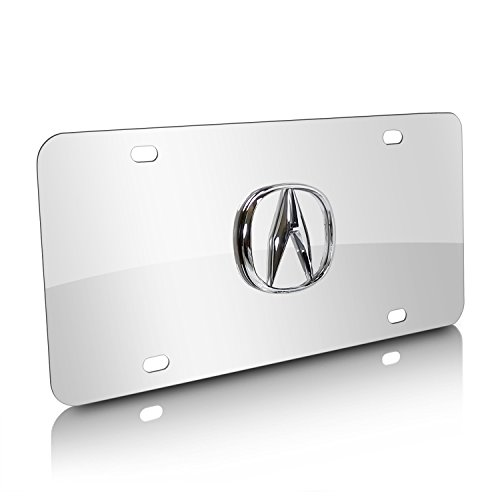 (Acura 3D Logo Chrome Stainless Steel License Plate)