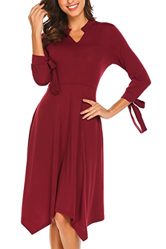 Length Sleeve Tie (Pasttry Women's V Neck Tie Sleeve Asymmetrical Solid A Line Pockets Flowy Midi Dress Wine Red L)