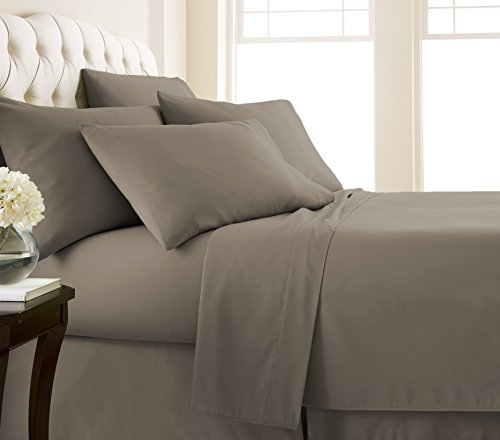 Southshore Fine Linens - Vilano Springs - 6 Piece - Extra Deep Pocket Sheet Set , KING , Dark Taupe Brown Wash Finish