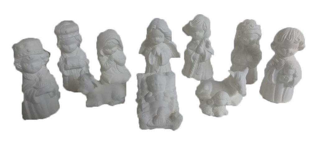 Kids Nativity 3'' to 4'' Set 11 Piece Ceramic Bisque, Ready to Paint by Creative Kreations Ceramics