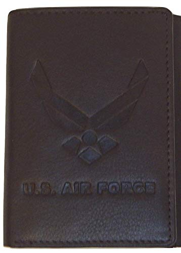 US Armed Forces Collection Men's Genuine Leather Wallets - Gift Boxed Bi-Fold and Tri-Fold Leather Wallets (US Airforce Tri-Fold, Brown) ()