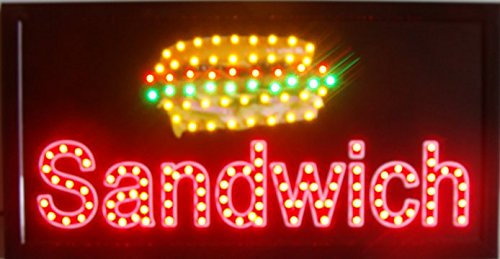 CHENXI Led pizza burger panini hot dog hamburger sandwiches tacos shop open sign graphics indoor running 48X25 CM food store led sign (48 X 25 CM, M) (Sandwiches Led Sign)