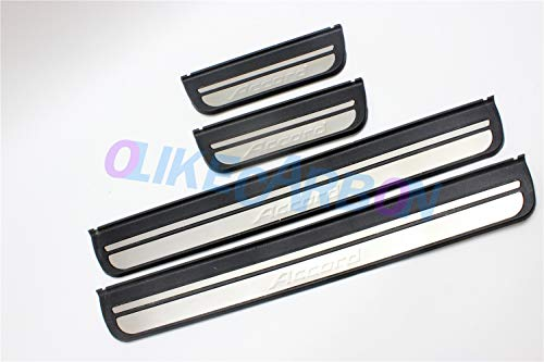 OLIKE for Honda Accord 2008-2012 8TH ABS+ Stainless Steel Door Sill Scuff Plate Guard Sills Protector Trim (Black ABS+Stianless Steel)