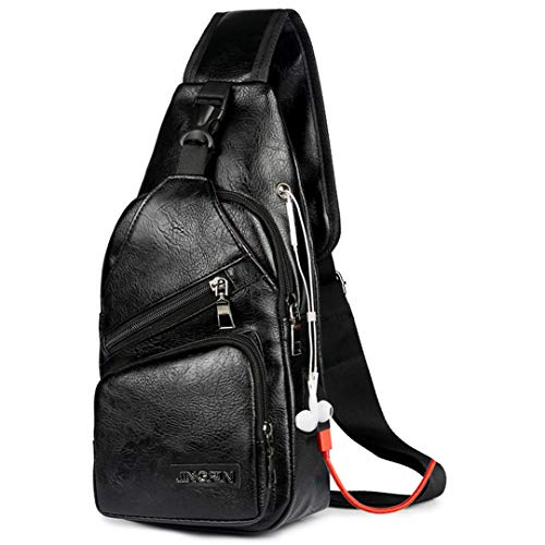 Men's USB Charging Bag Chest For Custom PU Shoulder Bag Diagonal Package Messenger Travel Bag 22 Black