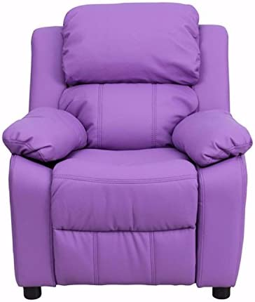 Flash Furniture Deluxe Heavily Padded Contemporary Lavender Vinyl Kids Recliner