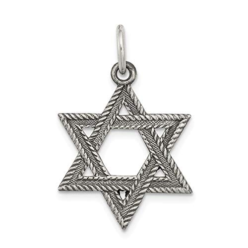 (Sterling Silver Antiqued Textured Star of David Charm or Pendant)