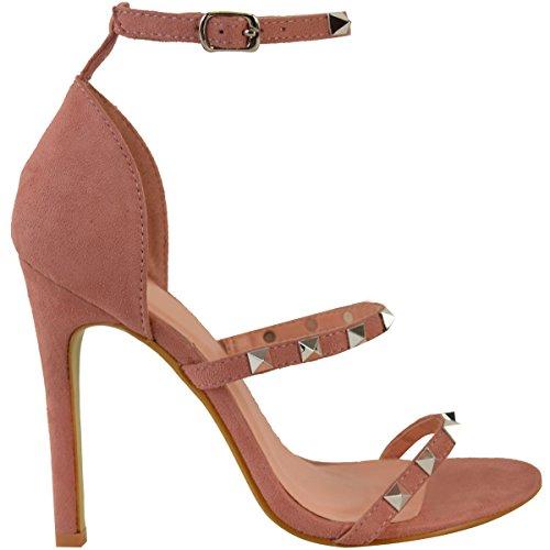 Sandalias De Tacón Alto Con Tachuelas Para Mujer Moda Tacón Stiletto Talla Barely There Rosa Pastel Imitación De Gamuza
