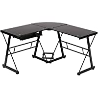 BestMassage L Shaped Office Computer Glass Corner Desk with Keyboard Tray