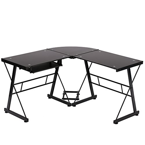 L-Shape Corner Computer Desk Glass Laptop Table Workstation Home Office