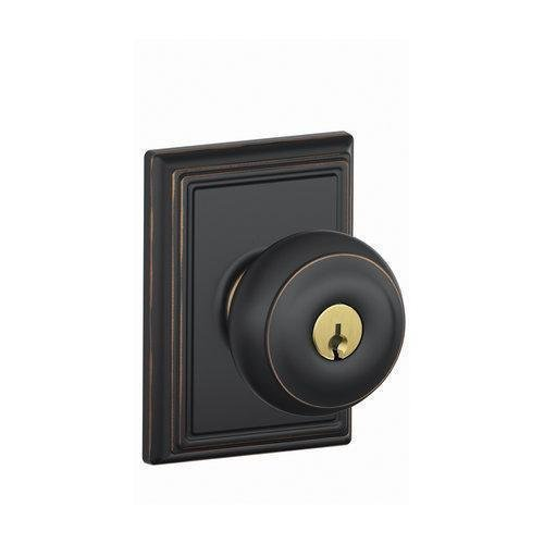 Schlage Lock Company F51AGEO716ADD Aged Bronze Georgian Keyed Entry F51A Panic Proof Door Knob with Addison Rosette by Schlage Lock Company