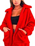 ECOWISH Women's Coat Casual Lapel Fleece Fuzzy Faux Shearling Zipper Warm Winter Oversized Outwear Jackets Red XL