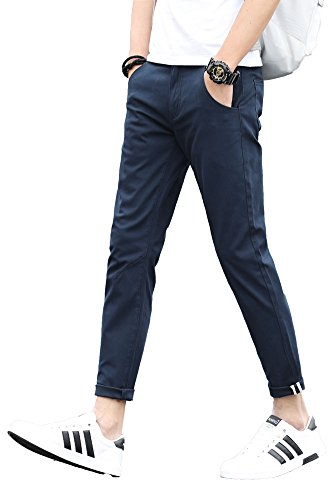 Plaid&Plain Men's Slim Fit Stretch Casual Navy blue Pants Cropped Chinos Flood Pants Navy blue (Plaid Twill Pant)
