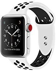RDX Compatible Sport Band Apple Watch 42mm 44mm Silicone Strap Replacement Wristband iWatch Series 4/3/2/1 Nike- S/M - (White/Black)