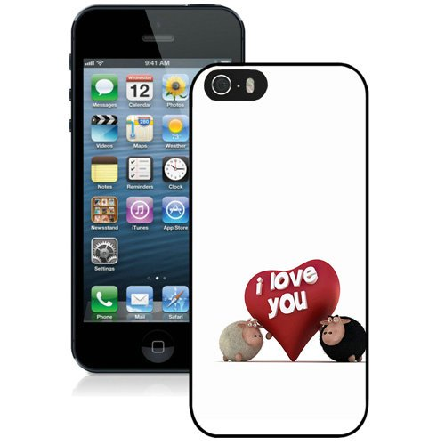 Coque,Fashion Coque iphone 5S I Love You Funny Sheep Noir Screen Cover Case Cover Fashion and Hot Sale Design