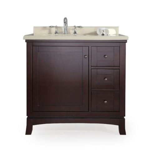 Ove Decors Velega 36 Bathroom 36-Inch Vanity Ensemble with Marble Countertop and Ceramic Basin, Tobacco