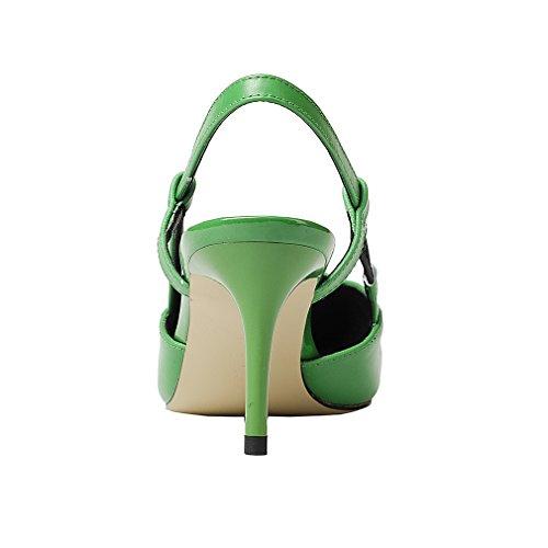 Enmayer Donna Slingbacks Punta A Punta Caviglia Scarpe Da Donna Pompe Per Sandali Stiletto Stiletto Scarpe Verde # G1