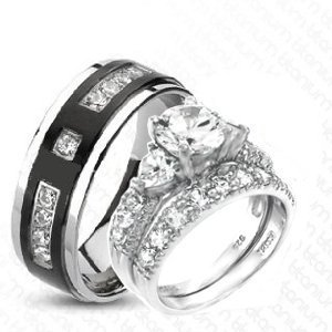 3 pieces his hers heart 925 sterling silver rhodium plated titanium matching engagement - Wedding Ring Set His And Hers