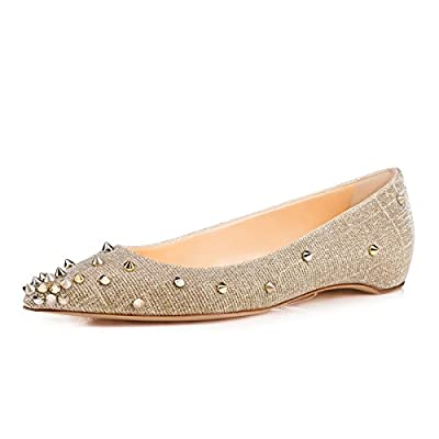 FSJ Women Classic Studded High Heel Pumps with Rivets Pointy Toe Stiletto Prom Shoes Size 4-15 US
