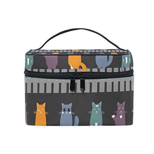 Makeup Bag Cute Cats Colorful Cosmetic Case Portable Carry Travel Toiletry Bag Toiletry Bags for Womens Storage -