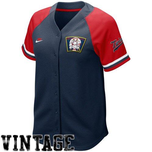 NIKE Minnesota Twins Women's Navy Blue-Red Cooperstown Quick Pick Vintage Baseball Jersey (Medium) ()