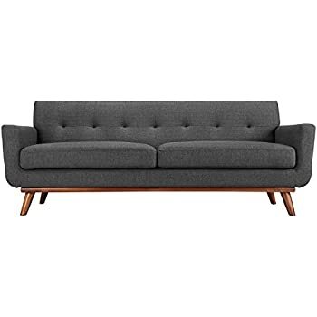 Modway Engage Mid-Century Modern Upholstered Fabric Sofa In Gray