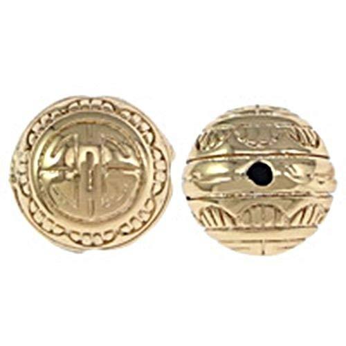Mala Gold Tone Scallop Design 12mm Round 3-Hole Guru Bead 1pc