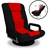 Best Choice Products 360-Degree Swivel Gaming Floor Chair w/Armrest Handles, Foldable Adjustable Backrest - Red/Black