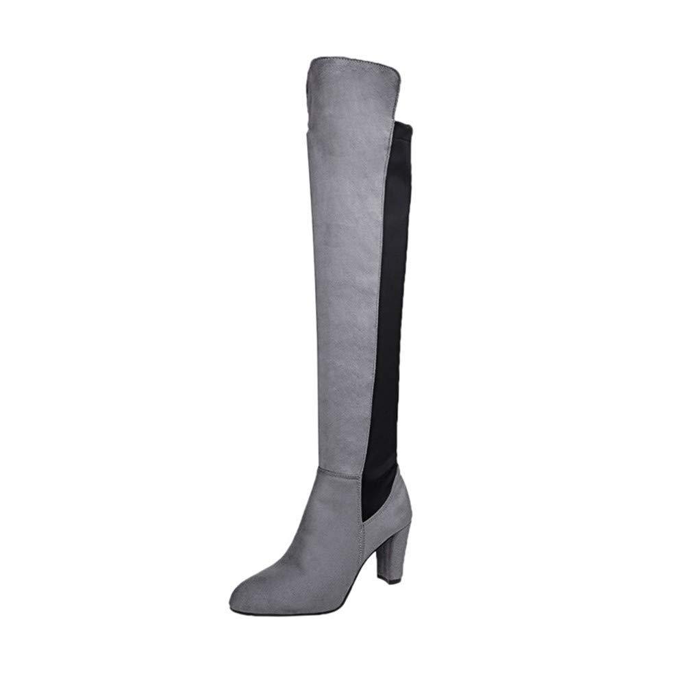 HCBYJ High Heels Herbst und Winter Damen Stiefel Quadrat Ferse Wildleder Oberschenkel High Heels über Das Knie Hohe Kragen Patchwork