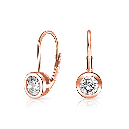 - Minimalist .50 Ct Solitaire Round Bezel Brilliant Cut CZ Leverback Drop Earrings Women Rose Gold Plated Sterling Silver