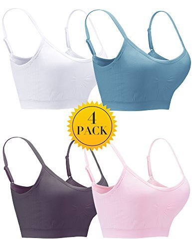 Women Seamless Bras 4 Pack Wirefree Padded Pullover Bra