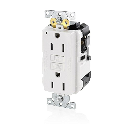 Leviton MGFN1-W Lev-Lok Modular Wiring Device 15A-125V Extra-Heavy Duty Industrial Grade Non-Tamper-Resistant Duplex Self-Test GFCI Receptacle, (Leviton White 15a Tamper)