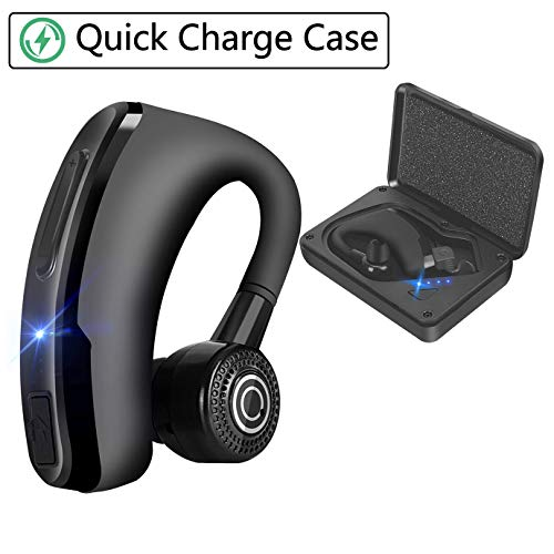 Wireless Bluetooth Headphones 4.2 Bluethood Headset Earpiece Ear Hooks with Quickly Charging Case Built-in Invisible Mic and Noise Canceling 12H Talk time Business Earphones for iPhone/Android/Driving