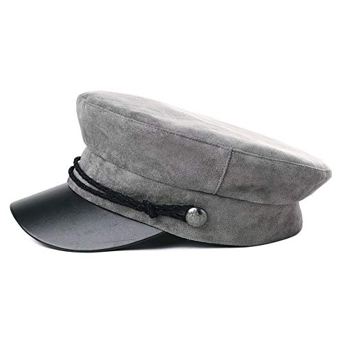 Womens Greek Fisherman Newsboy Cap Fashion Suede Fiddler Rope Hat Cotton Lining Winter Fall Gray