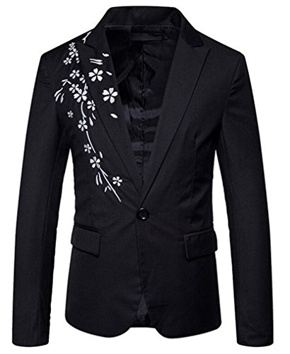 Cafuny Men's Floral Embroidery One Button Notched Lapel Dress Blazer Slim Fit Suit Jacket