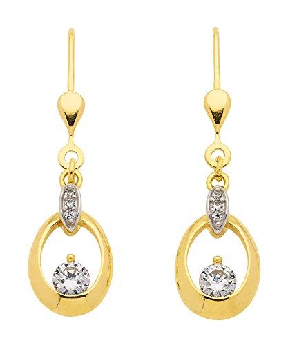 Boucles d'oreilles pendantes avec Oxyde de Zirconium en or 3338carats rhodié