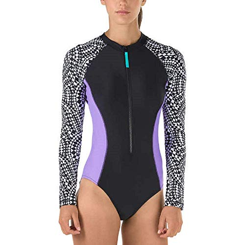 Speedo Ladies' Long Sleeve One-piece Swimsuit Geometric Print (X-Large) ()