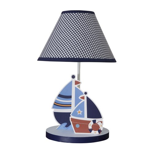 Bedtime Originals Sail Away Lamp with Shade and - Musical Mobile Baby Plaid