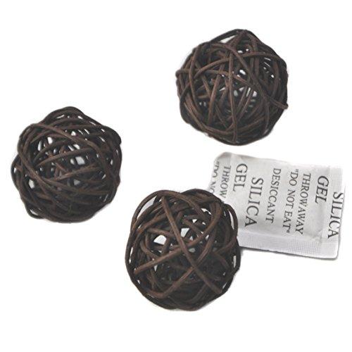 Ougual Set of 10pcs Natural Wicker Rattan Balls Table Wedding Party Christmas Decoration (Diameter 4cm, Dark Brown) ()