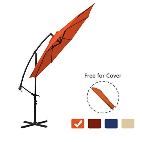 Patio Umbrella Offset Cantilever 10 Ft Outdoor Hanging Umbrella Crank for Garden Market & Free for Cover (Orange)