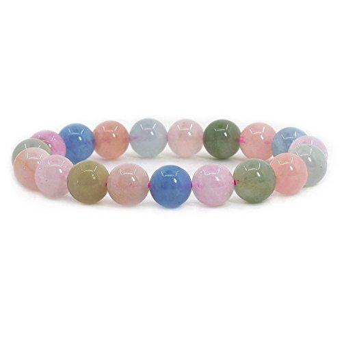 Justinstones Natural Aquamarine Morganite Beryl Gemstone 10mm Round Beads Stretch Bracelet 7 Inch Unisex