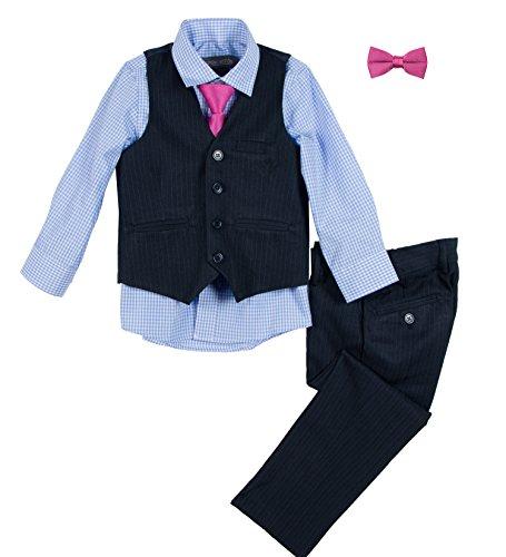 Lined Pinstripe Blazer (Spring Notion Big Boys' Pinstripe Vest Set 7 Navy-Blue-Fuchsia)