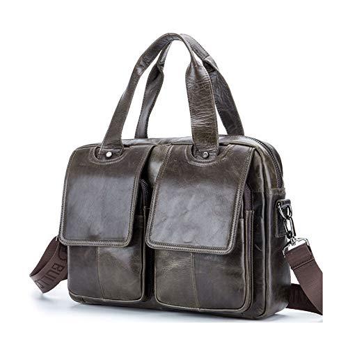 Qzny Briefcase Attache Case Men's Leather Multi-Function Shoulder Messenger Bag Fashion Portable Briefcase,a,37266.5CM