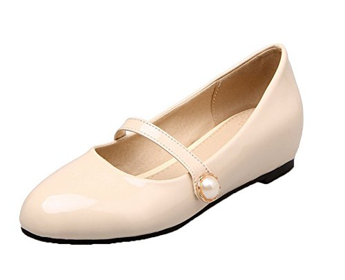 apricot Women's Pumps Pull WeenFashion Round Heels Leather Shoes Patent Toe Low On Closed U7ffdw4qx