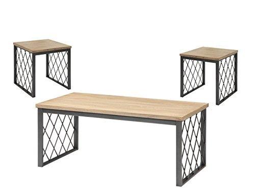 light oak coffee table set - 2