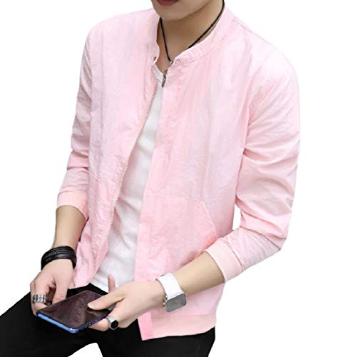 Colored Mogogo Stand College Jacket Zipper Sunscreen Mens Solid Collar Pink EqqWpY6wZ