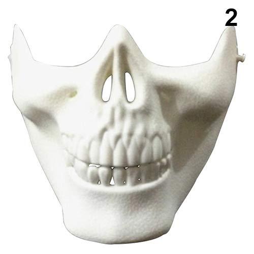 YuYe Skull Half Face CS Military Skeleton Warrior 3 Generations Masquerade Mask - White -