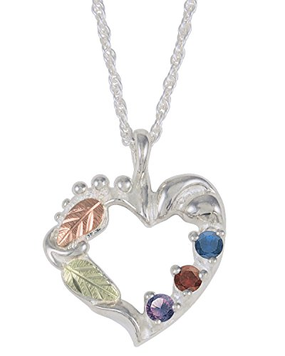 Amethyst, Smoky Quartz, Sapphire Heart Pendant Necklace, Sterling Silver, 12k Green and Rose Gold Black Hills Gold Motif, 18