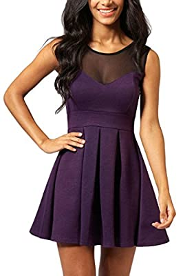 Manydress Women's A-Line Sleeveless Mini Swing Cocktail Party Dress