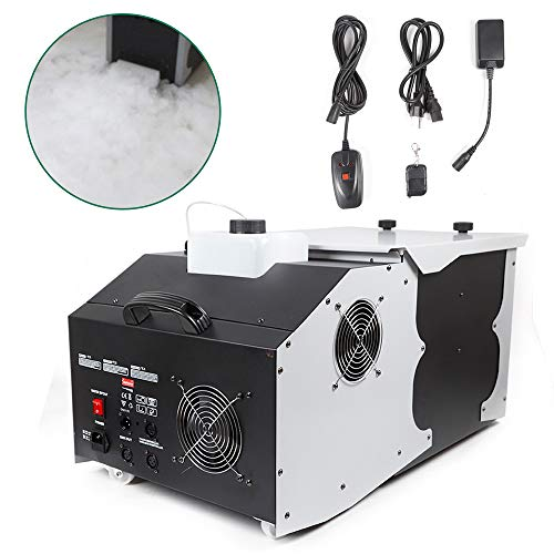 Low Fog Machine, Low Floor Lying Dry Ice Effect Fog Machine with Remote Controller for Stage DJ Club Show Effects 110V 3000W