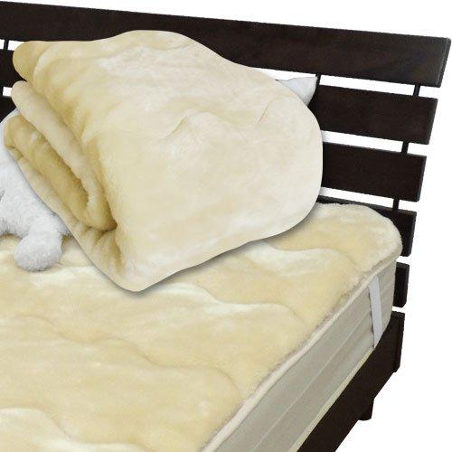 メーカー直販 あったかムートン調 アクリルマイヤー毛布敷きパッド ダブル 140×205cm ベージュ B00A7OKHCK ベージュ ベージュ